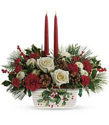 Teleflora's Halls Of Holly Centerpiece from Gilmore's Flower Shop in East Providence, RI
