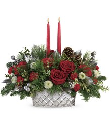 Teleflora's Merry Mercury Centerpiece from Gilmore's Flower Shop in East Providence, RI