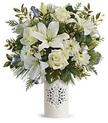 Teleflora's White Snowflake Bouquet from Gilmore's Flower Shop in East Providence, RI