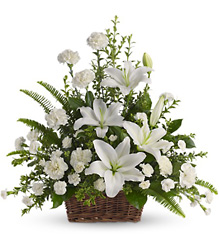 Peaceful White Lilies Basket from Gilmore's Flower Shop in East Providence, RI